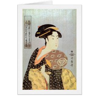 うちわを持つ女, 歌麿 Frau mit dem runden Fan, Utamaro Karte