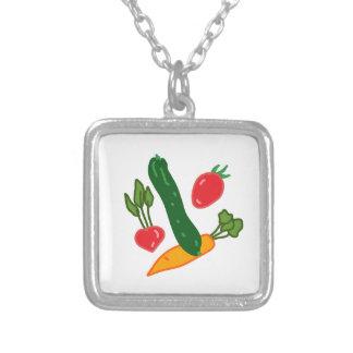 新鮮でおいしい野菜のイラストグッズ Fresh and delicious vegetables o Versilberte Kette