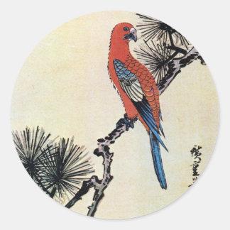 松にインコ, pin de 広重 et perruche, Hiroshige, Ukiyo-e Adhésifs Ronds