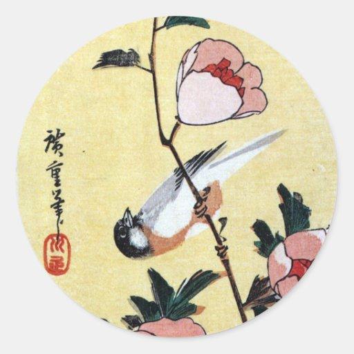 花に鳥, oiseau de 広重 et fleur, Hiroshige, Ukiyo-e Autocollants Ronds