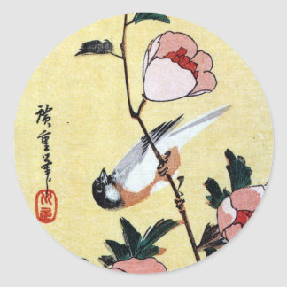 花に鳥, oiseau de 広重 et fleur, Hiroshige, Ukiyo-e Sticker Rond