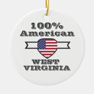 100% Amerikaner, West Virginia Keramik Ornament