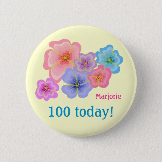 100. Geburtstag der hübschen PastellBlumen Runder Button 5,7 Cm
