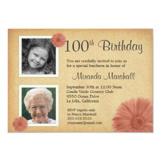 100th Foto des Geburtstags-lädt Vintages 12,7 X 17,8 Cm Einladungskarte