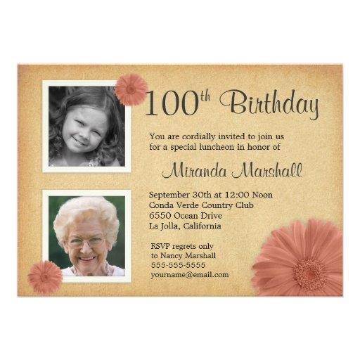 100th Foto des Geburtstags-lädt Vintages Gänseblüm Personalisierte Ankündigungskarten