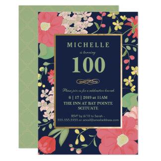 100th Geburtstags-Einladung - Gold, elegantes Karte
