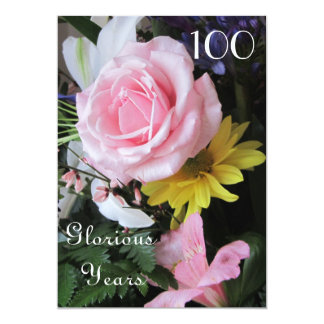 100th Geburtstags-Feier! - Rosa Rosen-Blumenstrauß 12,7 X 17,8 Cm Einladungskarte