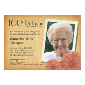 100th Geburtstags-Vintage 12,7 X 17,8 Cm Einladungskarte