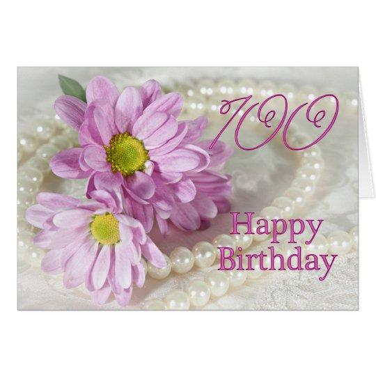 100th Geburtstagskarte mit Gänseblümchen Karte