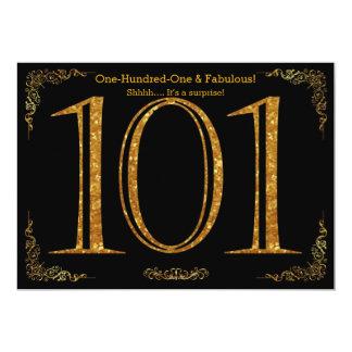 101st Geburtstags-Party, großes Gatsby, schwarzes 12,7 X 17,8 Cm Einladungskarte