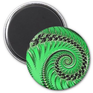 108-74 grünes Blatt u. Spiralenmagnet Runder Magnet 5,1 Cm