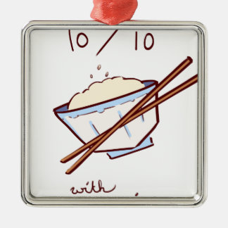 10/10 mit Reis Silbernes Ornament