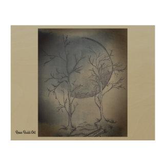 """10"""" durch 8"""" hölzerne Wandkunstnächte moon Holzdruck"""