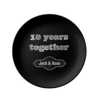 10. Hochzeitstag-Andenken | 10 Jahre schick Porzellanteller
