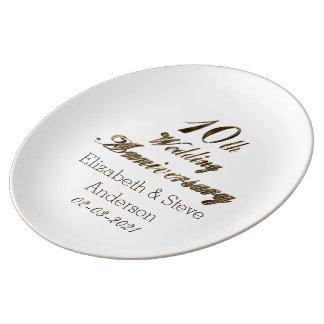 10. Hochzeitstag-Typografie-elegantes Gold Teller Aus Porzellan