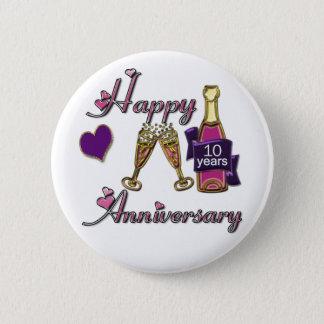 10. Jahrestag Runder Button 5,7 Cm