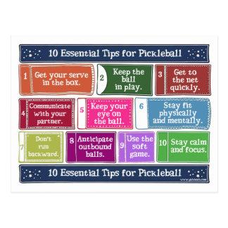 10 wesentliche Spitzen für Pickleball Postkarte