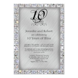 10. Zinn und Diamant-Hochzeitstag 12,7 X 17,8 Cm Einladungskarte