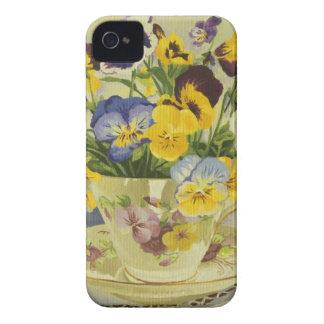 1187 Stiefmütterchen im Teacup iPhone 4 Case-Mate Hüllen
