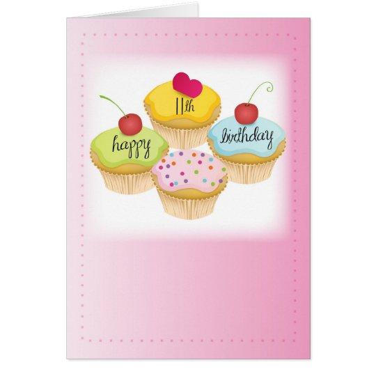 11. Geburtstags-kleine Kuchen im Rosa Grußkarte