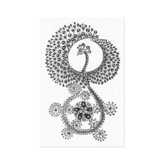 11 x 17 abstraktes Schwarzweiss-Phoenix Leinwanddruck