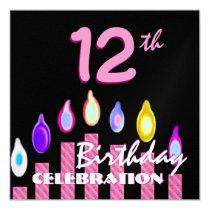 12. Mädchen-Geburtstags-Party-Rosa-gestreifte Quadratische 13,3 Cm Einladungskarte