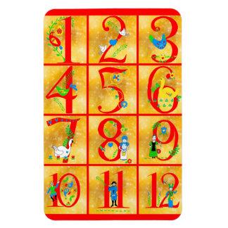12 Tage Weihnachtslied-Volkskunst-Zahlen Magnet
