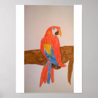 "12"" x 16"", rotes Papageien-Wert-Plakat-Papier Poster"