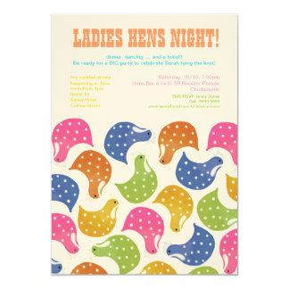 12x18 Henne-NachtJunggeselinnen-Abschieds-Hochzeit 12,7 X 17,8 Cm Einladungskarte