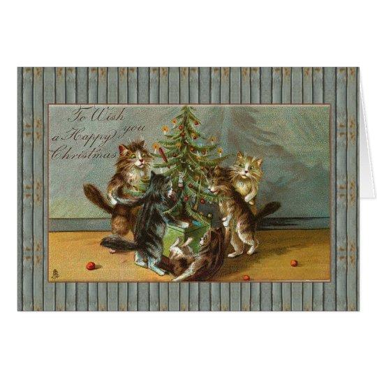 12x18karte Katzen-glückliches Weihnachten Karte