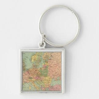 1314 politisches Europa Silberfarbener Quadratischer Schlüsselanhänger