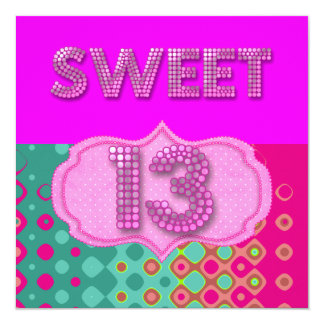 13. Bonbon 13 Geburtstags-Party-Rosa-aquamarine Quadratische 13,3 Cm Einladungskarte