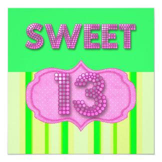 13. Bonbon 13 Geburtstags-Party-Rosa-Limone Quadratische 13,3 Cm Einladungskarte