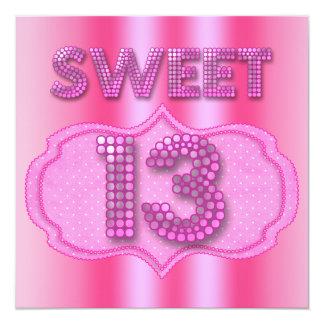 13. Bonbon 13 Geburtstags-Party-Rosa-Polka-Punkte Quadratische 13,3 Cm Einladungskarte