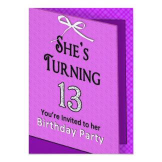 Außergewöhnlich 13. Geburtstags Einladung   Fuschia/schwarze Karte