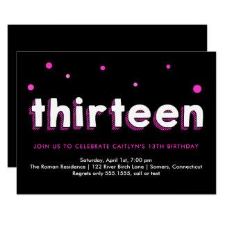 13. Geburtstags Einladung, Skizzierte Buchstaben, Karte