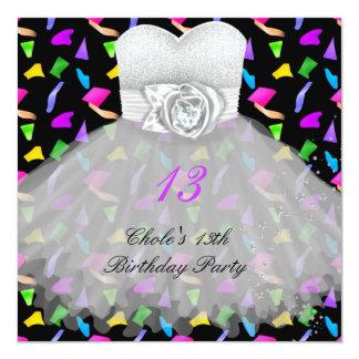 13. Geburtstags-Party-Mädchen 13 jugendlich Quadratische 13,3 Cm Einladungskarte