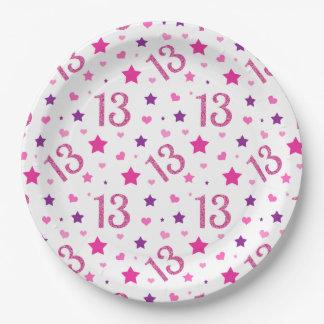 13. Geburtstags-rosa Glitzer-Papier-Teller Pappteller