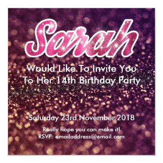 14. Geburtstag Sarahs Laden Ein Quadratische 13,3 Cm Einladungskarte