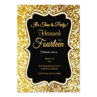14. Geburtstagseinladung im Schwarzen und im Gold Karte