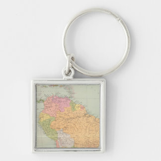 15152 Südamerika politisch Silberfarbener Quadratischer Schlüsselanhänger