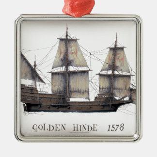 1578 goldenes Hinde Schiff Silbernes Ornament