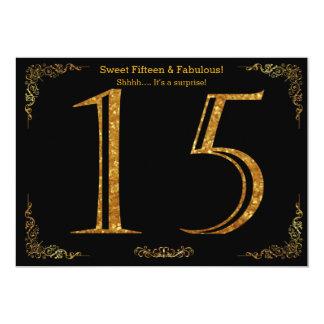 15., Bonbon fünfzehn, Geburtstags-Party, schwarzer 12,7 X 17,8 Cm Einladungskarte