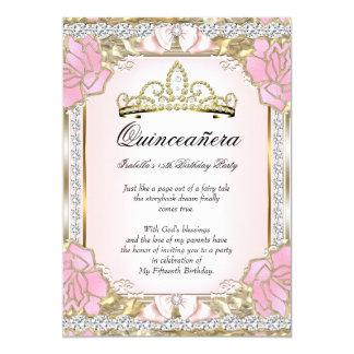 15. Geburtstag 2 Prinzessin-Quinceanera Pink Gold 12,7 X 17,8 Cm Einladungskarte