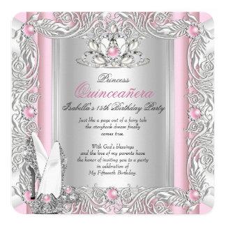 15. Geburtstag Prinzessin-Quinceanera hellrosa Quadratische 13,3 Cm Einladungskarte