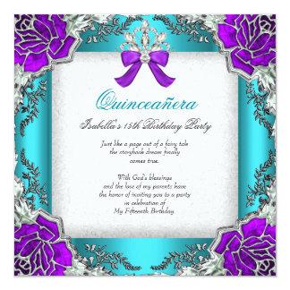 15. Geburtstag Prinzessin-Quinceanera Purple Teal Quadratische 13,3 Cm Einladungskarte
