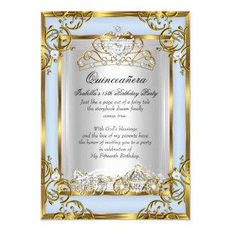 15. Geburtstags-Blau Prinzessin-Quinceanera 12,7 X 17,8 Cm Einladungskarte