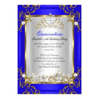 15. Geburtstags-Königsblau Prinzessin-Quinceanera 12,7 X 17,8 Cm Einladungskarte