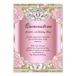 15. Geburtstags-Party Prinzessin-Quinceanera Pink 12,7 X 17,8 Cm Einladungskarte