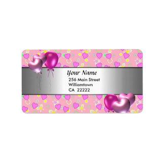 15. Geburtstags-Party-Rosa-Herz-Adressen-Etikett Adressetiketten